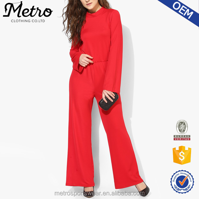 Hot Sale Women Sexy Polyester Red High Neck Long Sleeves Backless Jumpsuit