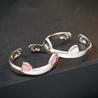 Fine jewelry 100% 925 Sterling Silver cat ear ring Free shipping