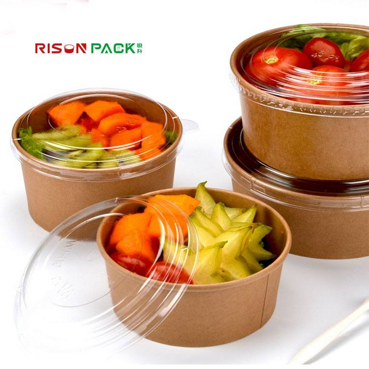 biodegradable paper salad bowl with PET lid take away kraft paper and white