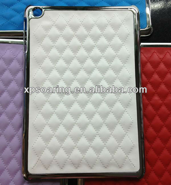 Fashion quilt skin chrome case cover for mini ipad