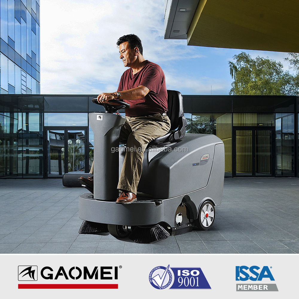 Riding Cordless Battery Floor Sweeper with Mechanical Broom