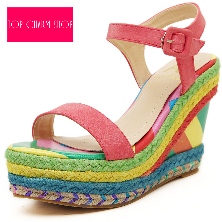 Ladies Shoes 2015 High Heels Sandals Summer Women's Open Toe Rainbow Color Strap Straw Braid Wedges Platform Big Small Size