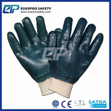 Heavy Duty Chemical and Oil Resistant Fully Coated Interlock Nitrile Gloves With Knit Wrist