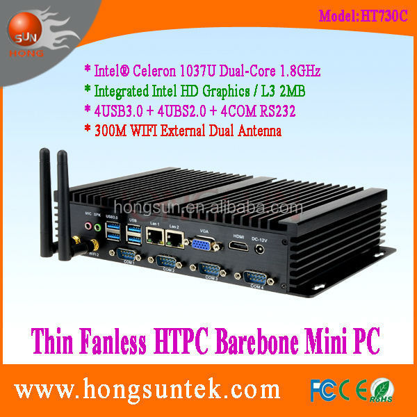 HT730C Intel celeron 1037U 1.8G Dual core 1080p Fanless industrial mini box pc with dual lan,vga,rs232 and wifi