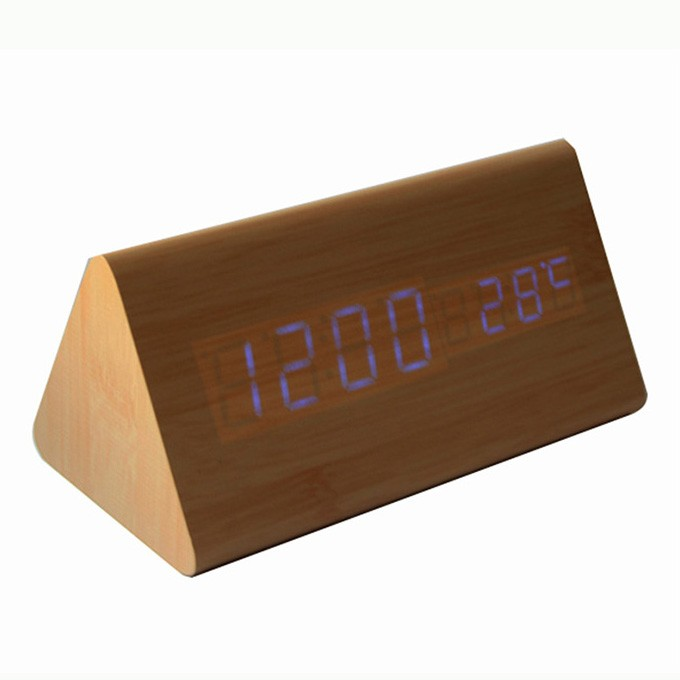 Home decor wooden LED clock with temperature