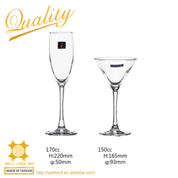 High end clear glass for champagne wine cocktail
