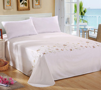 New arrival flowers patterns in the white sheets hand embroidery designs for bed sheets