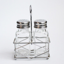 4oz mini square shape glass spice Jar with metal stand for kitchen