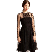 Women Elegant Black Long Sleeve Mesh Sheer Chic Polka Dot A-Line Short <strong>Party</strong> <strong>Dress</strong>