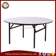 foshan wholesale Hot selling good quality adjustable polywood round dining restaurant folding banquet wedding table dia180