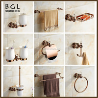 Latest Styles & Innovations Zinc alloy and crystal Polished Rose gold Wall mounted bathroom accessory sets