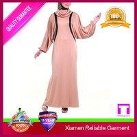 Elastic cuff muslim abay loose long fall back neck