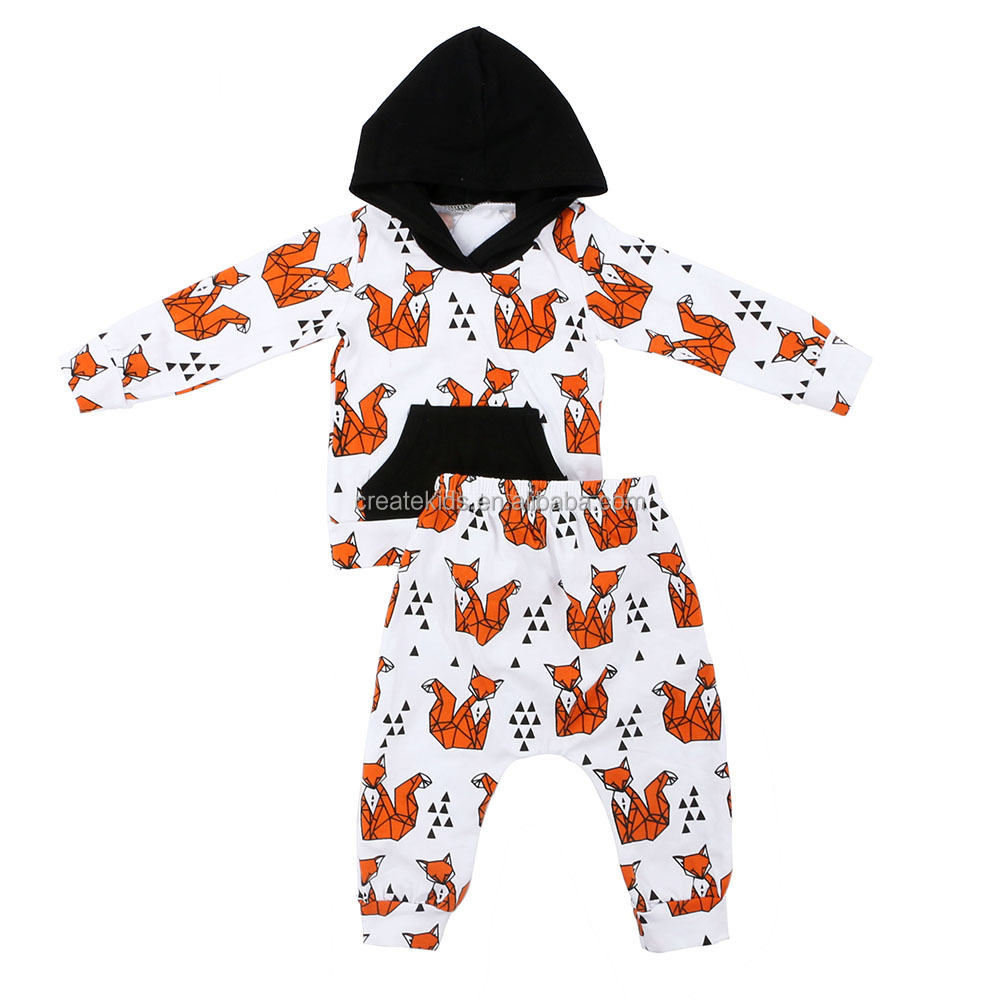 2018 fox printing orange 2 pcs outfits wholesale children clothing usa clothing manufacturer easter boutique outfits