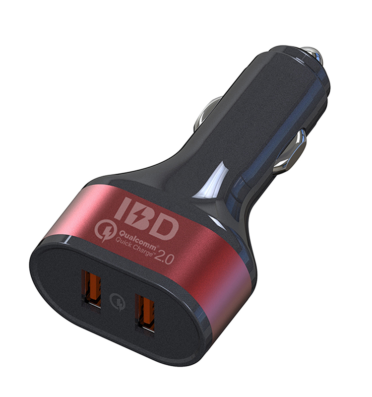 IBD phone accessories qucik charge qc2.0 double usb car charger adapter for cell phone