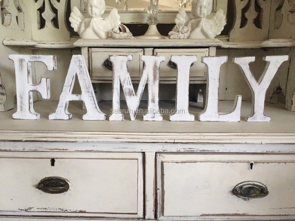 large shabby chic vintage white wooden alphabet family letters 15cm tall freestanding