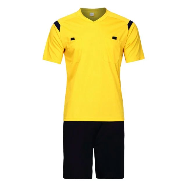 Referee sublimated jeresy referee shorts wholesale soccer shirt referee soccer shirts yellow football jersey
