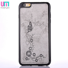 Butterfly flower Leather+TPU Cell Phone Case For Iphone6s plus Protective Back Cover
