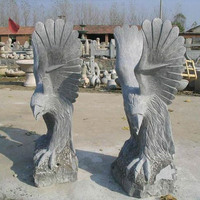 Large size hand carved antique granite stone flying eagle statue for garden ornament
