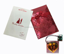 2017 factory custom LED light colorful wedding invitation cards