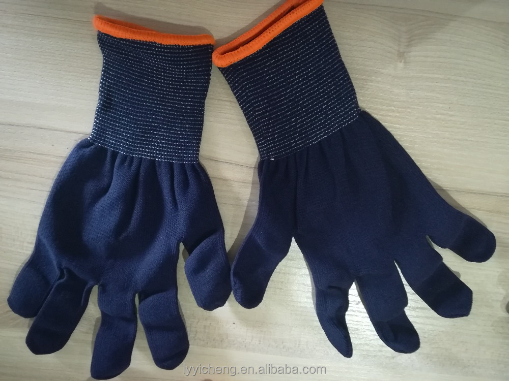 <strong>10</strong>/13Gauge Dark Blue Nylon Gloves ,Golden Supplier in Linyi
