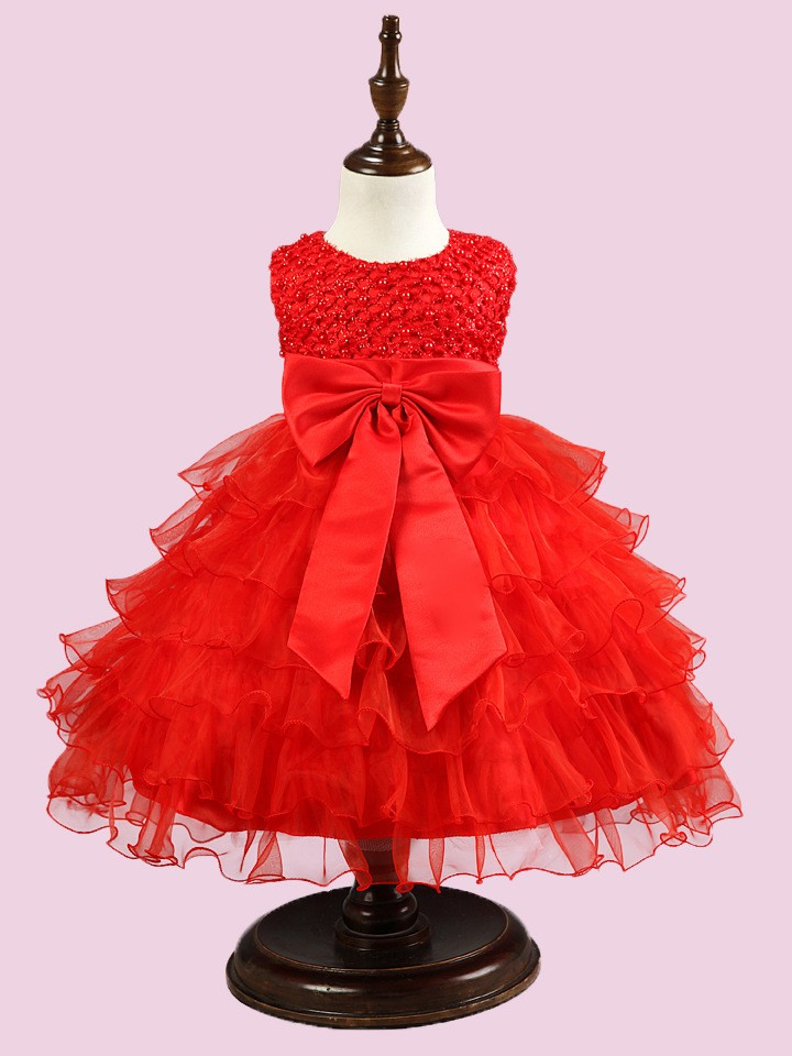 New design baby party frocks flower skirt the belt big bowknot cheap indian girl dress kids wedding dress 2016-o