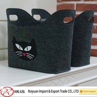 Hot selling Large capacity preet cute cat shape felt storage basket with super quality