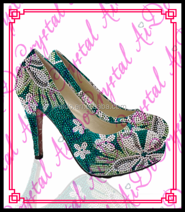 Aidocrystal grass green crystal sexy high heel shoes handmade 10cm With Chinese characteristics