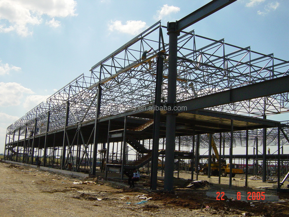 Large span industrial work shop steel space frame structure building Romania