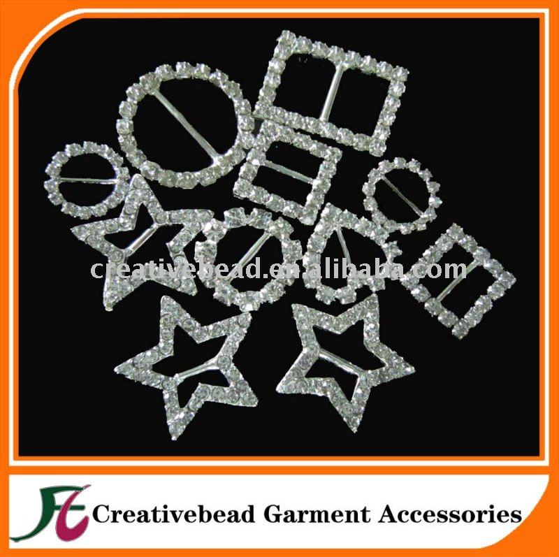 Wholesale Rhinestone Buckles Invitation Ribbon Slide/Heart, round, or square rhinestone buckles sliders for bows and belts