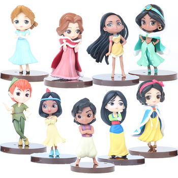 7.5cm Princess figure doll Snow White Alice in Wonderland Ariel Mermaid PVC Figure Model Toy Collection For Cake Car Decoration