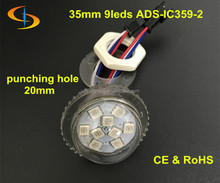 round dream color 35mm 9 smd 5050 led rgb pixel light,DC12V input, waterproof IP66