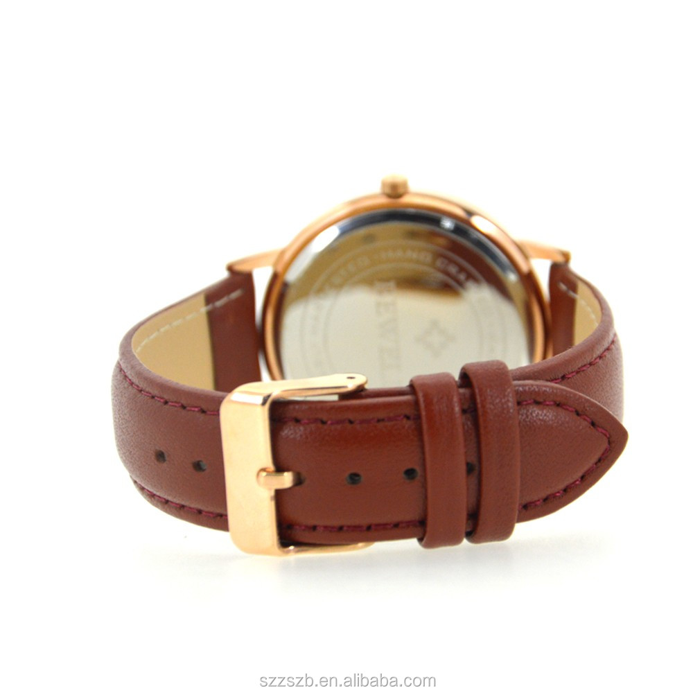 2018 Handmade Mens thin case steel and Wood Genuine Leather Band Natural Wooden Watch
