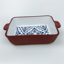 Bakeware Blue Decal Kitchenware Terracotta Rectangle <strong>Plate</strong> with Handles