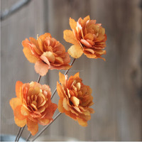 Dried artificial single flower by Natural leaf wire iron 60cm stem