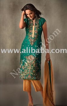 Green & Gold Jamavar pakistani dress shalwar kameez designer