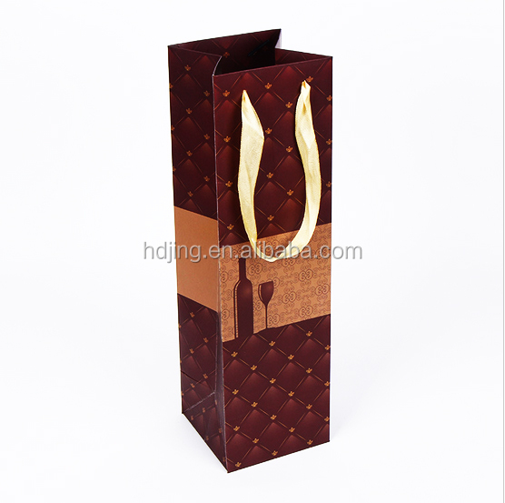 Custom square bottom wine red color paper packaging bag(HH-021)