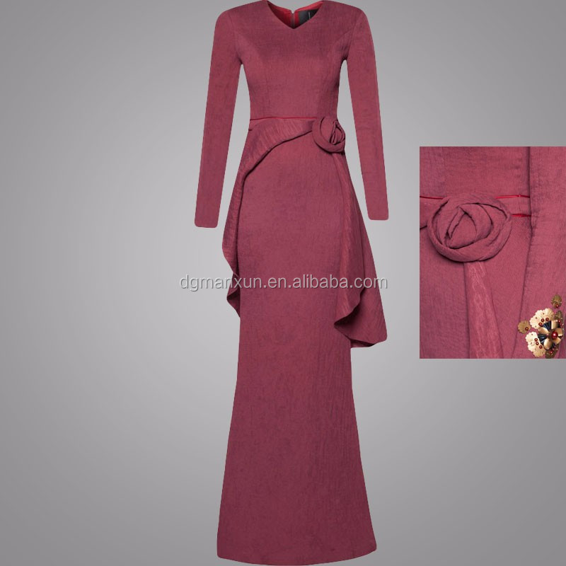 Modern Ethnic Wear Floor-Grazing Muslimah Dress Rose Embellishment Baju Kurung Modern For Women
