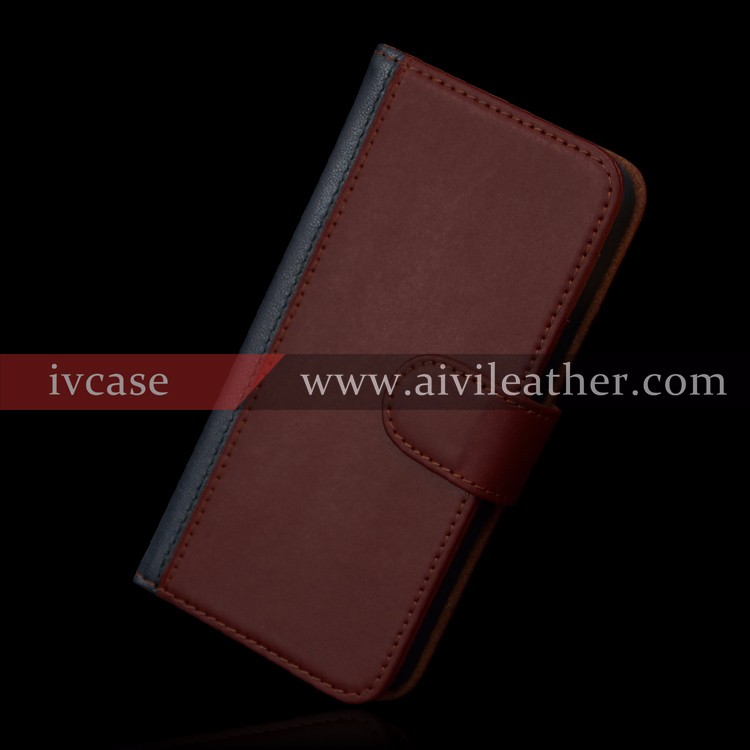 Awesome Design Genuine Leather Book Case for Iphone 5 with Card Slots
