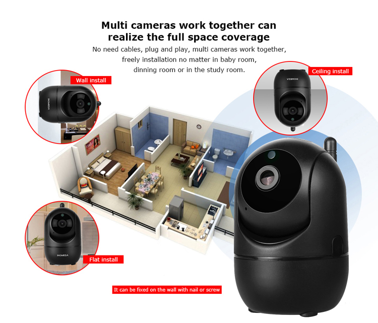Inqmega\Shiwojia HD 1080P Smart Home Wireless Security CCTV Cloud Storage Motion Auto Tracking Wifi IP Camera