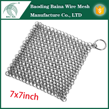 Cast Iron Cleaner BNS7inch square Stainless Steel Chainmail