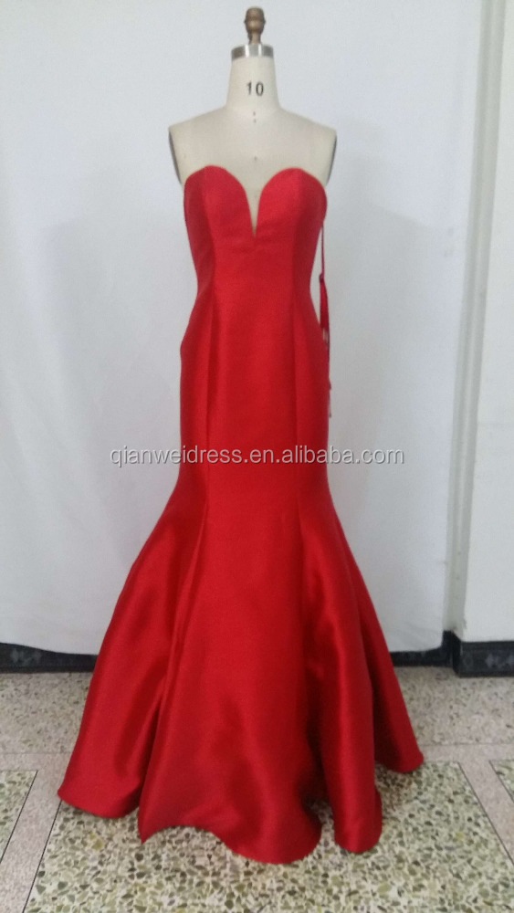 China facotry long red strapless satin mermaid evening dress wholesale for seniors