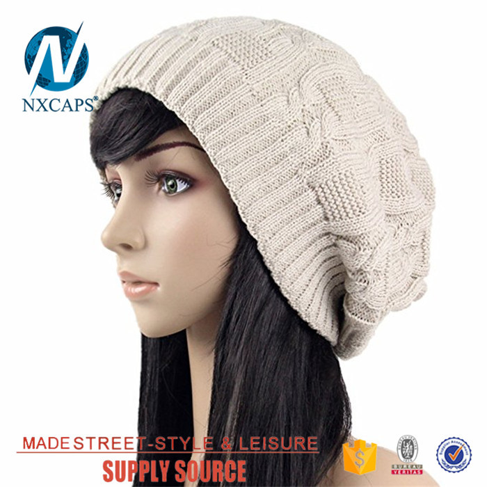 Plain female Baggy beanie hat custom leather patch fashion winter knitting straight needle knit hat patterns