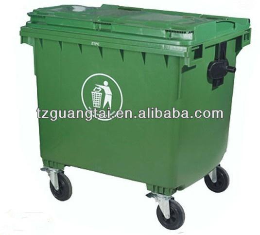 660l Plastic Dustbin Waste Bin trash Can With Wheels