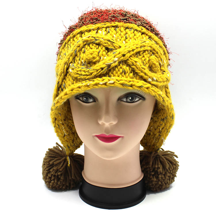 Fashionable design yellow bike beanie capWomen's beanies with fur real