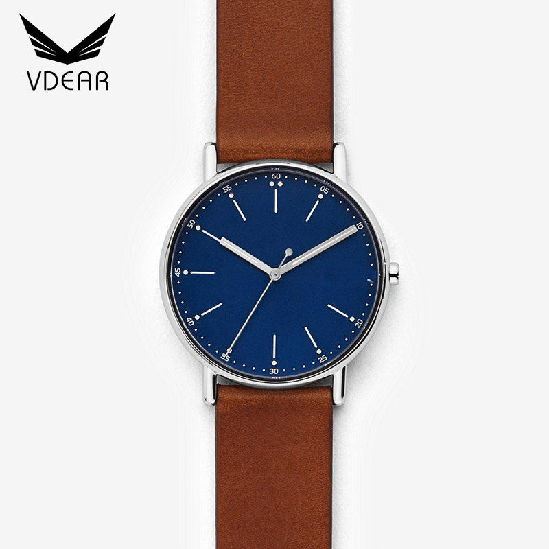 China watch factory custom design your own fashion watch men genuine leather watch