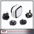 Newest Interchangeable World Travel Adapter,UK AUS USA EURO Plug 4 USB charger