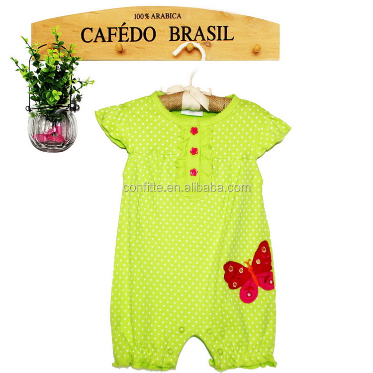 green plained short sleeve baby girl romper with printed buttery cotton <strong>100</strong>