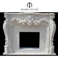 decorative carved stone white fireplace mantel