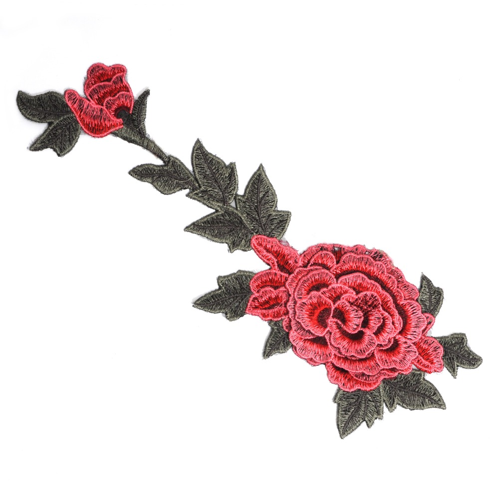 Hot selling custom 3d patch embroidery retro flower pattern