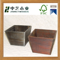 Wholesales rustic home gardon handmade antique wooden container flower pot